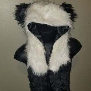 Party panda hat with built in mittens